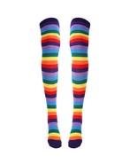 MSemis Colorful Rainbow stockings Striped High Thigh Knee Socks Arm Warm... - $20.81