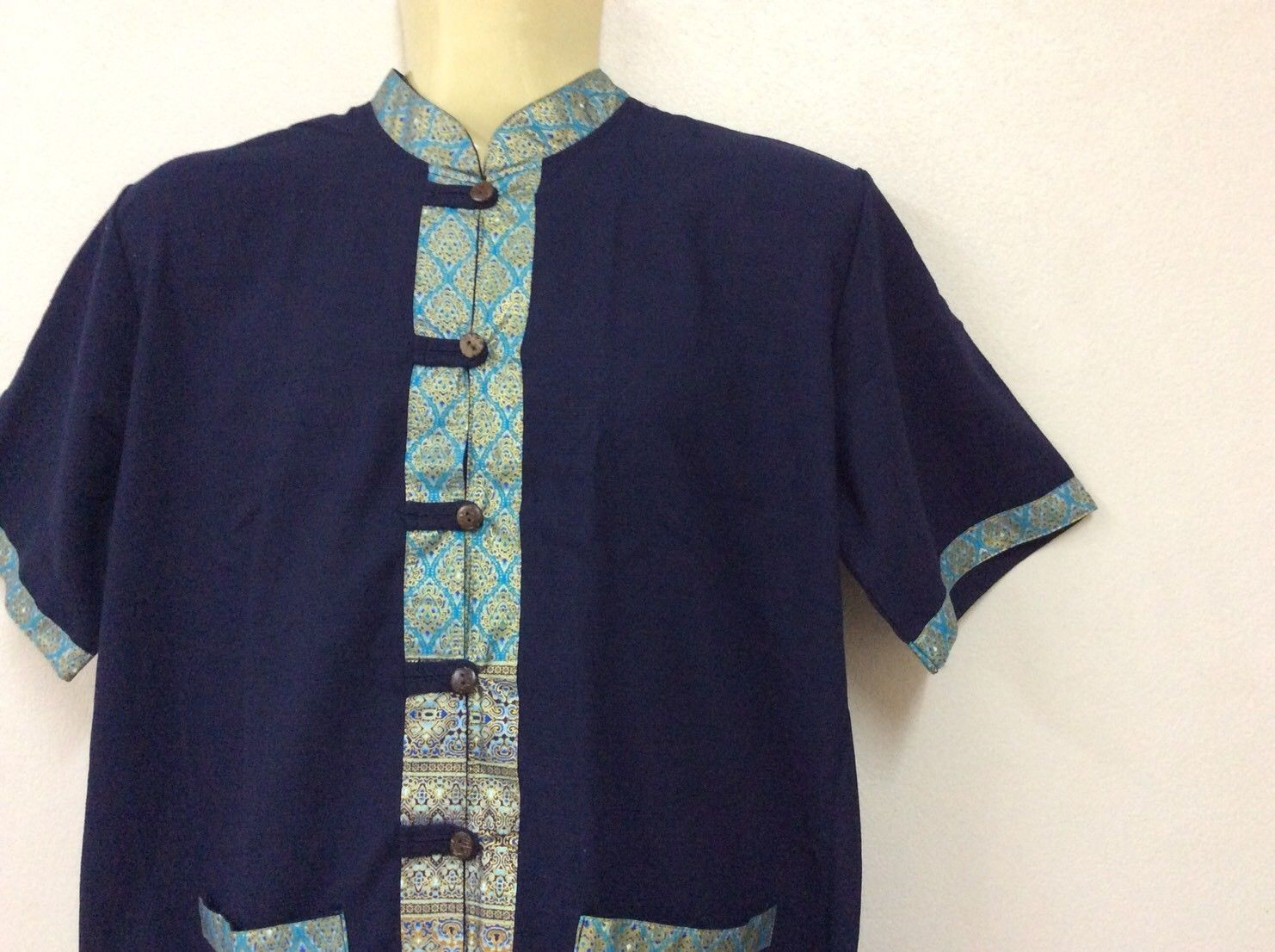 MEN Thai Traditional MANDARIN Collar Shirt Chinese Spa Short Sleeve Navy Blue XL