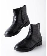 Zara Kids Black Embossed Animal Print Ankle Boots Sz 5.5 Eu 38 Zip Up 31... - $39.59