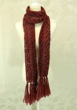 "Hand Knit Scarf Burgundy Heather 4"" x 80"" Soft Fringe - $16.82"