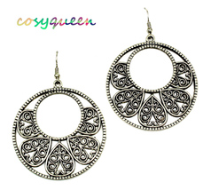 Women New Large Pewter Circle Round Filigree Drop Pierced Earrings - $21.48 CAD