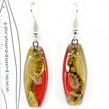 Handmade Recycled Fused Glass Red & Brown Oval Surf Hook Earrings Made Ecuador image 2