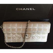 Auth CHANEL Shoulder Clutch White Beige Matelasse New Travel Medium Flap... - $634.59