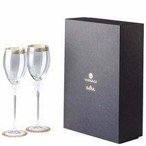 Versace by Rosenthal Versace Medusa d'Or set of 2 glasses white wine NEW - $590.88