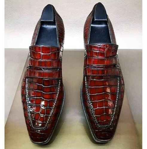 Primary image for Handmade Men Burgundy Crocodile Leather Loafer Shoes