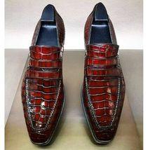 Handmade Men Burgundy Crocodile Leather Loafer Shoes image 1