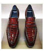 Handmade Men Burgundy Crocodile Leather Loafer Shoes - $99.99+