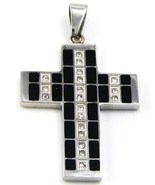 Black Cross Stainless Steel Pendant w FREE SS C... - $18.99