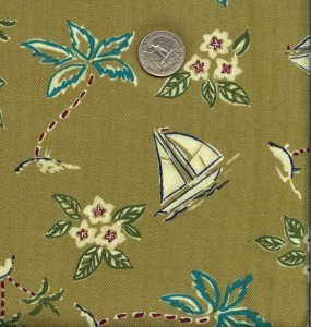 Primary image for Vintage Silky Rayon Hawaiian Shirt Fabric Sailboats
