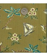Vintage Silky Rayon Hawaiian Shirt Fabric Sailboats - $6.50