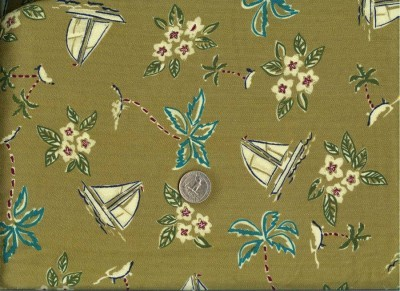 Vintage Silky Rayon Hawaiian Shirt Fabric Sailboats