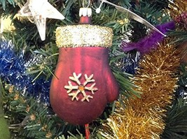 Burgundy Mitten with Gold Sparkles Blown Glass Ornament