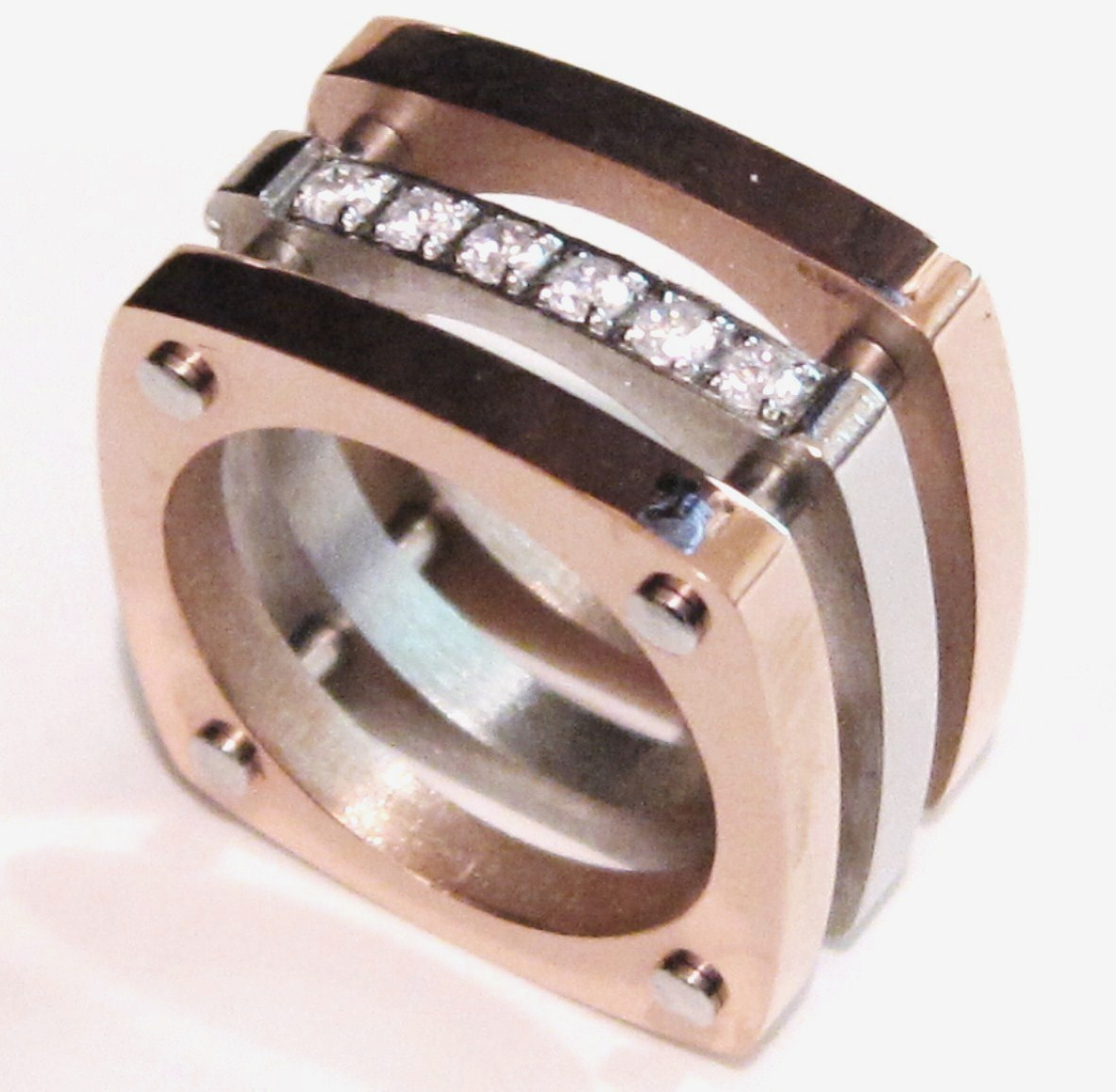 SSR1737 - CZ Chunky Square Copper Stainless Steel Statement Ring