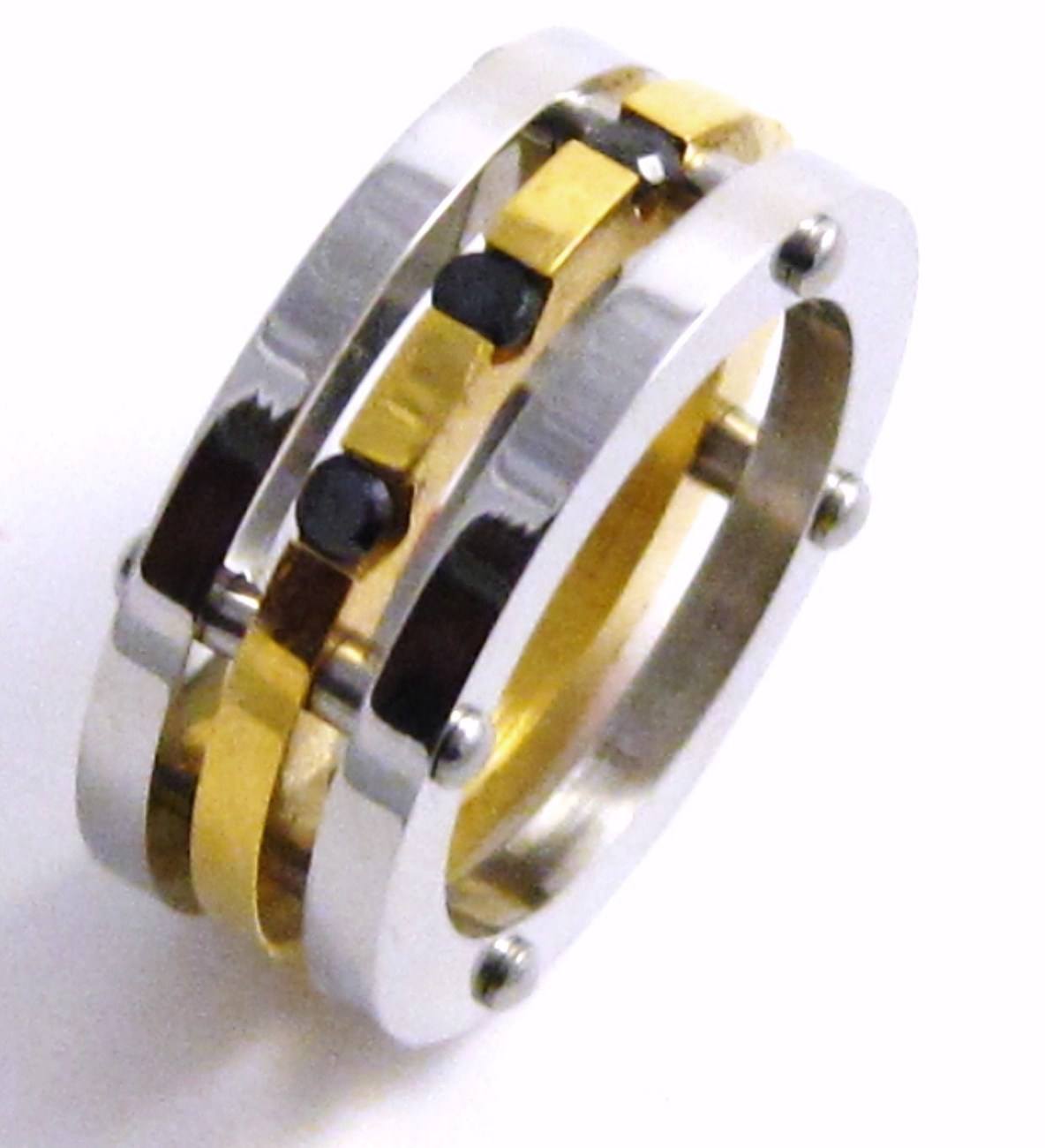 Unisex Gold Stainless Steel Ring Black CZ SSR5107