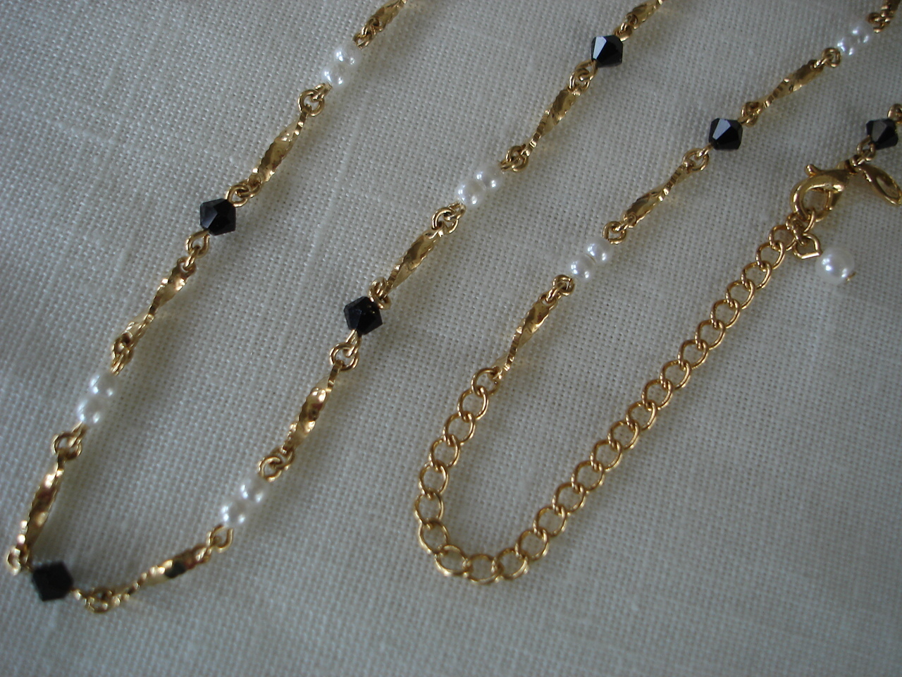 Goldtone Necklace, Simulated Pearl, Black Bead, Signed