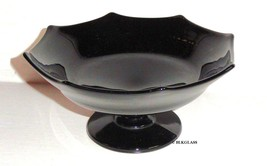 Black Stemmed Shallow Compote, 8 Points And Scallops, Flat Pedestal Bowl - $14.58