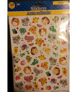 ANIMAL GLITTER STICKERS Hedgehog Butterfly Bee Raccoon Bird 50 Sticker S... - $3.99