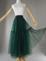 DARK GREEN Tutu Skirt Women Midi Tutu Skirt Dark Green Dot Party Skirt Plus Size image 4