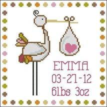 Stork Announcement Baby Girl birth cross stitch chart Pinoy Stitch - $9.00