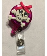 Skull & Cross Bone badge reel key card ID holder lanyard retractable Purple - $7.99