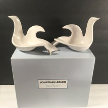 PartyLite JONATHAN ADLER PEACE DOVE PAIR WHITE CERAMIC TEALIGHT CANDLE H... - $46.74