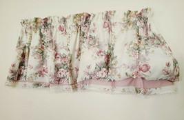 Vtg JCPenney Blouson Valance 88 x 22 Rose Pink Sage Floral on Ivory USA ... - $24.74