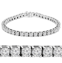 Solid 925 Silver 4 Prong Set Brilliant Cut White Diamond Accents Tennis ... - $229.99