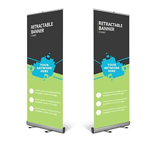 Retractable Roll Up Banner Stand, Tradeshow Display Sign Holder, Heavy Duty Alum