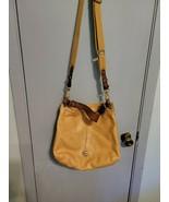 Fossil light Brown Leather  Crossbody Shoulder Bag Tote Handbag Satchel - $20.56