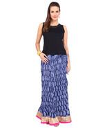 Blue & White Crush paisley Jaipuri Skirt with golden & pink border Borde... - $25.75