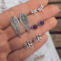 Jewdy® 4Pairs/Set Bohemian Wings Purple Crystal Stud Earrings Set Antiqu... - $3.15