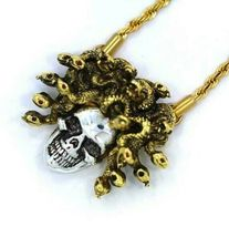 """Han Cholo Silver Gold Plated Medusa Skull Pendant with 26"""" Rope Chain NEW image 4"""