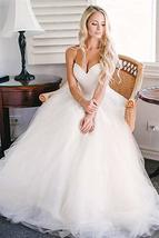 Simple A Line Sweetheart Wedding Dresses Beaded Pleated Bridal Gowns image 2
