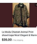 Le Moda Cheetah Animal Print Shawl/Cape Nice! OSFM - $29.00