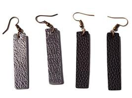 L&N Rainbery 2 Pairs Bar Leather Earrings Antique Looking Long Penda... - $10.35