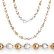2mm Kugel Facettiert Perle Halskette 925 Sterlingsilber 14k Rosegold - £27.67 GBP+