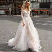 Charming Lace Illusion Long Sleeve Open Back A-Line Princess Bridal Gown Custom