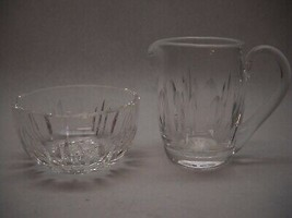 WATERFORD Crystal CREAM AND SUGAR Set Oval GROUPING Pattern Starburst BASE - $34.27