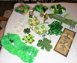 Irish St Patrick's Day 30+ Piece Lot Shamrock Signs Ornaments Blessings ... - $49.48