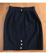 Gemma Kahng Navy Wool Zipper Close Pencil Skirt Size 8 gold buttons vint... - $47.52