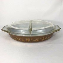 Pyrex Early American Divided Dish With Lid 1.5 QT Oval Casserole Vegetab... - $14.80