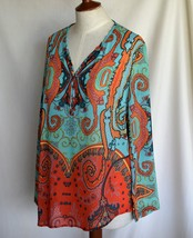 TRIBAL Blouse Silk M Multi Print Bust 41 Inch V Neck 4 Button NO FLAWS - $12.50