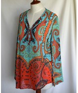 TRIBAL Blouse Silk M Multi Print Bust 41 Inch V Neck 4 Button NO FLAWS - $11.25