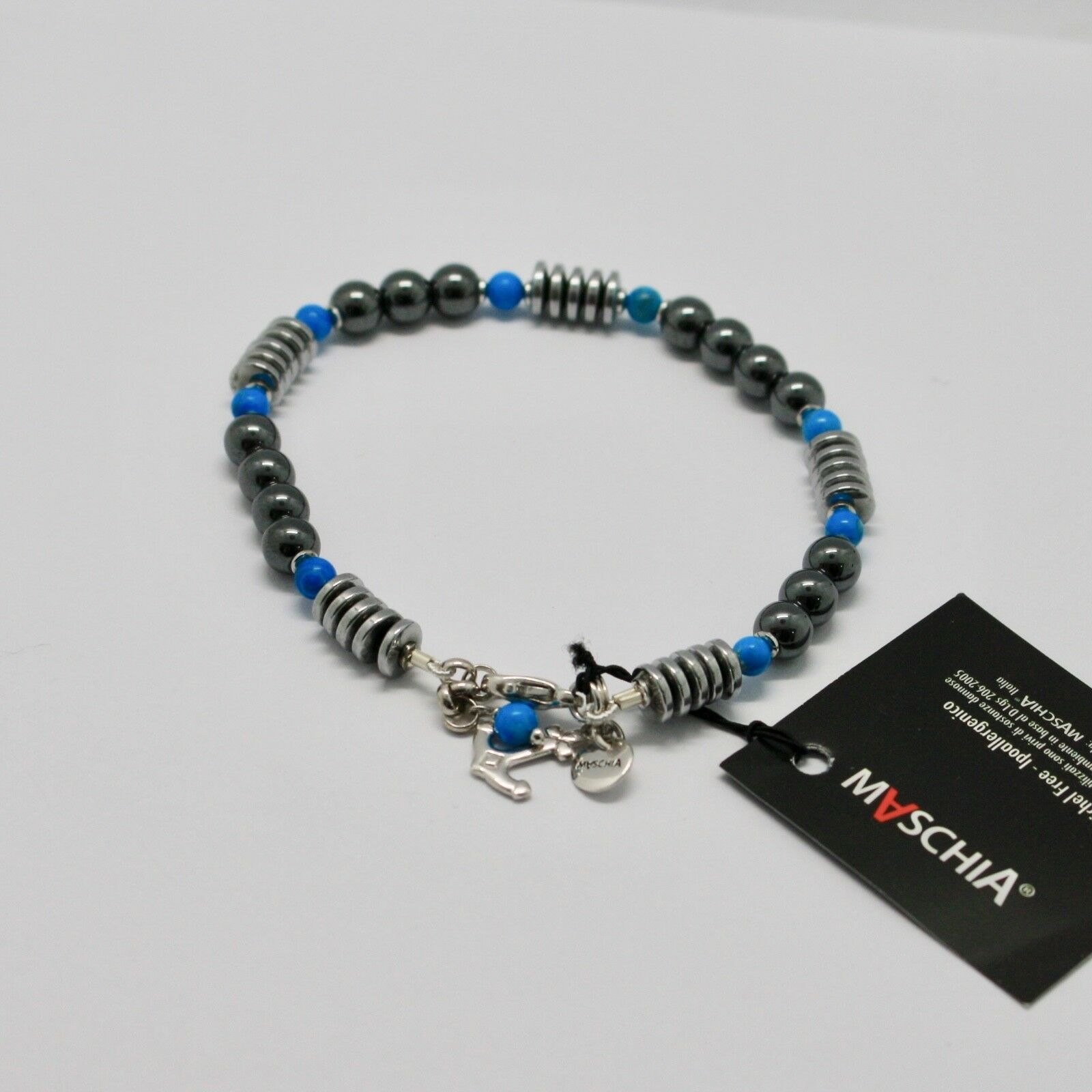 Bracelet en Argent 925 avec Turquoise Ed Hématite BLE-2 Fabriqué en Italie By image 2