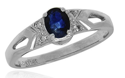AFJewels 14 k White Gold Genuine Sapphire Diamonds 0.03 ct Womens Ring