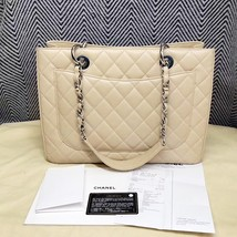 AUTHENTIC CHANEL QUILTED CAVIAR GST GRAND SHOPPING TOTE BAG BEIGE SHW RECEIPT  image 4