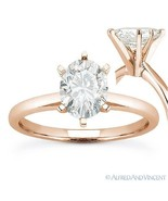 Oval Brilliant Cut Moissanite 6-Prong Solitaire Engagement Ring in 14k R... - €368,83 EUR+
