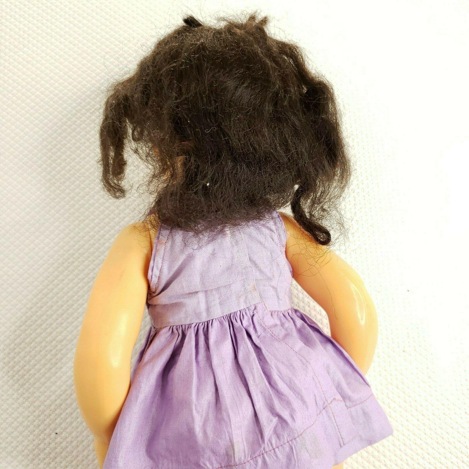 """Vintage 1950s 16"""" Terri Lee Doll Hard Plastic Brunette Hair Purple Dress"""