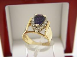 Nupen 14k Oro Giallo, Ametista e Anello Diamante Misura 5# - $740.48