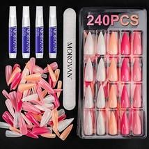 Morovan Press On Nails Fake Nails Tips - Nail Glue with Nail File 240 PC... - $23.10